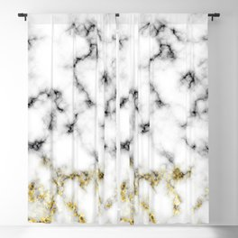 Black and white marble gold sparkle flakes Blackout Curtain