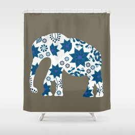 Elephant silhouette painted markers Shower Curtain