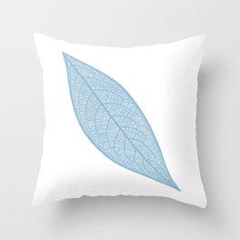 Blue Leaf Skeleton Illustration Throw Pillow