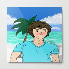 A Guy on the Beach Metal Print