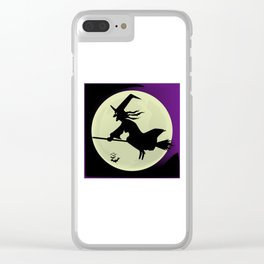 Witch and the Moon Clear iPhone Case