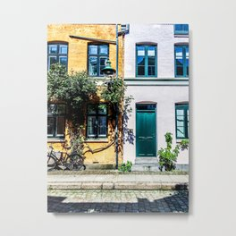 Danish Building Facades in Colourful Sunny Copenhagen Metal Print