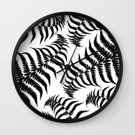 Fern Leaves Pattern - Black Dream #1 #ornamental #decor #art #society6 Wall Clock