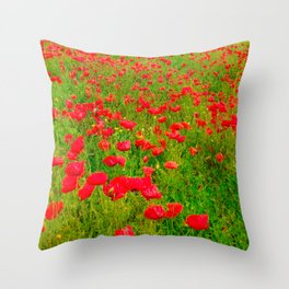 Poppies in the fields Throw Pillow