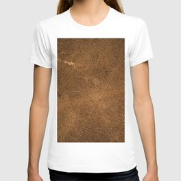 Vintage brown leather texture T-shirt