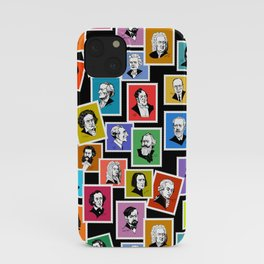 Pattern from stamps with 30 great composers (color version) iPhone Case