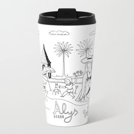 Funny Figurative Line Drawing of Alys Beach Community on 30a Metal Travel Mug