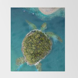 Turtle Island by the beach Throw Blanket