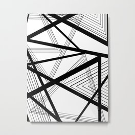 Black and White Abstract Geometric Metal Print
