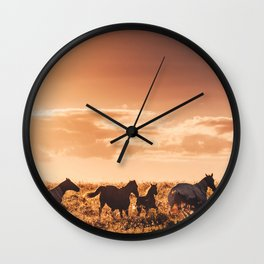 wild horses in australia Wall Clock