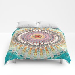 Teal Orange Yellow Boho Mandala Comforters