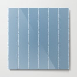 French Blue Linen Stripe Metal Print