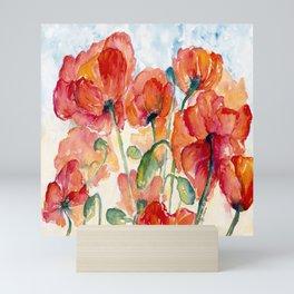 Tangerine Orange Poppy field WaterColor by CheyAnne Sexton Mini Art Print