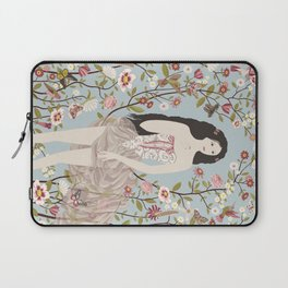 Lady, Flowers, Hummingbirds and Butterflies Laptop Sleeve