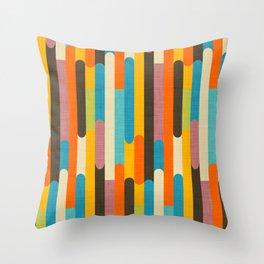 Retro Color Block Popsicle Sticks Orange Throw Pillow