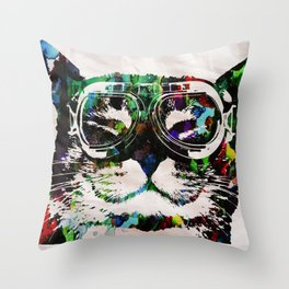 Watercolor Cat Painter - Prints and posters by Robert R POP ART CUTE PETS Throw Pillow