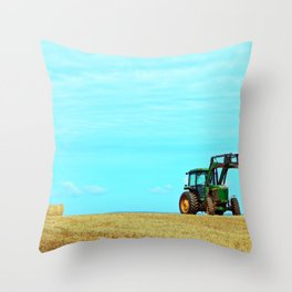 Tractor and Hay Roll on the Ridge Throw Pillow