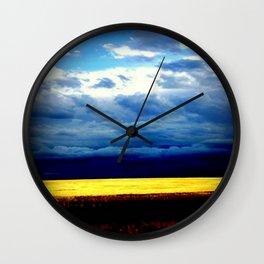 Golden Wheat Fields Wall Clock