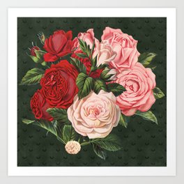 Vintage crimson red and pink roses garden on dark royal green Art Print