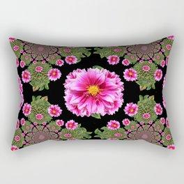 Fuchsia-Black Green Oriental Style Dahlias Art Rectangular Pillow