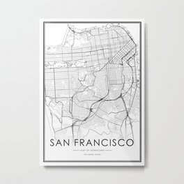 San Francisco City Map United States White and Black Metal Print