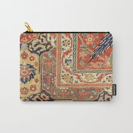 Indian Trellis II // 17th Century Ornate Medallion Red Blue Green Flowers Leaf Colorful Rug Pattern Carry-All Pouch