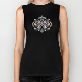 Teddy Bear Heart Intricate Decorative Swirl Biker Tank