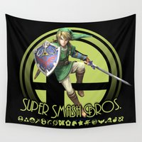super smash bros Wall Tapestries featuring Link - Super Smash Bros. by Donkey Inferno