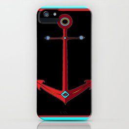 Rose Anchor with Black Background iPhone Case
