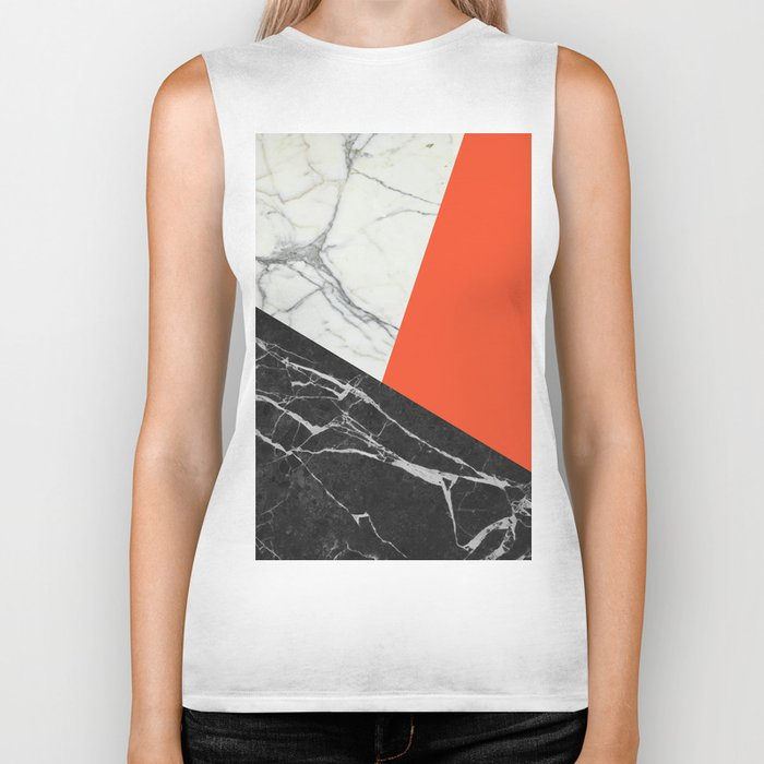 Black and White Marble with Pantone Flame Color Biker Tank