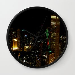 A Christmas Skyline in Chicago (Chicago Christmas/Holiday Collection) Wall Clock