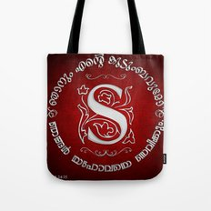 Joshua 24:15 - (Silver on Red) Monogram S Tote Bag