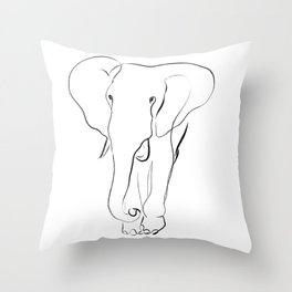 Elephant one line drawing Throw Pillow