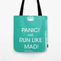 panic at the disco Tote Bags featuring PANIC by Vin Zzep