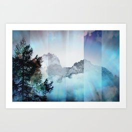 Boreal Lights on the Mountains Art Print