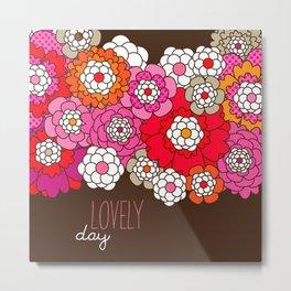 Lovely day - retro flowers illustration print Metal Print