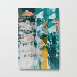 025.2: a vibrant abstract design in teal peach and yellow by Alyssa Hamilton Art Metal Print
