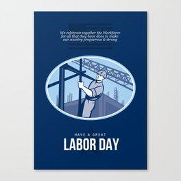 Celebrating Labor Day Greeting Card Canvas Print