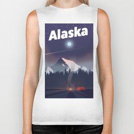 Alaska Camping trip travel poster Biker Tank