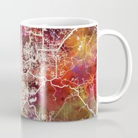 san diego Mugs featuring San Diego by MapMapMaps.Watercolors