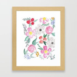 Floral Peony and Rose Watercolor Print  Framed Art Print