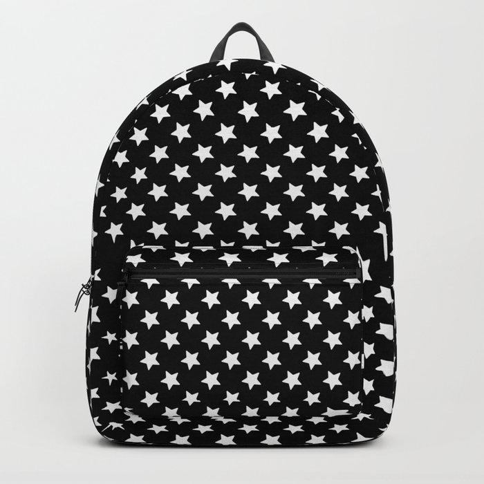 White Stars on Black Backpack