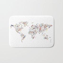Birds of a Feather World Map Art Bath Mat