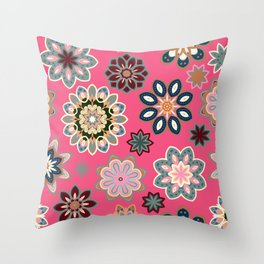 Flower retro pattern in vector. Blue gray flowers on pink background. Throw Pillow