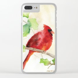 Cardinal and Holly Watercolor Clear iPhone Case