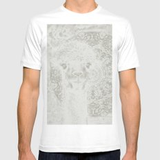 Ghostly alpaca and mandala MEDIUM White Mens Fitted Tee