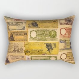 Numerous old banknotes of the Argentine Republic already out of circulation. Rectangular Pillow