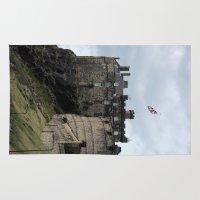 edinburgh Area & Throw Rugs featuring Edinburgh Castle by RMK Creative