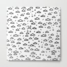 Libra Symbol Pattern Simple Black and White Drawn Metal Print