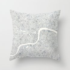 City Map London watercolor map Throw Pillow